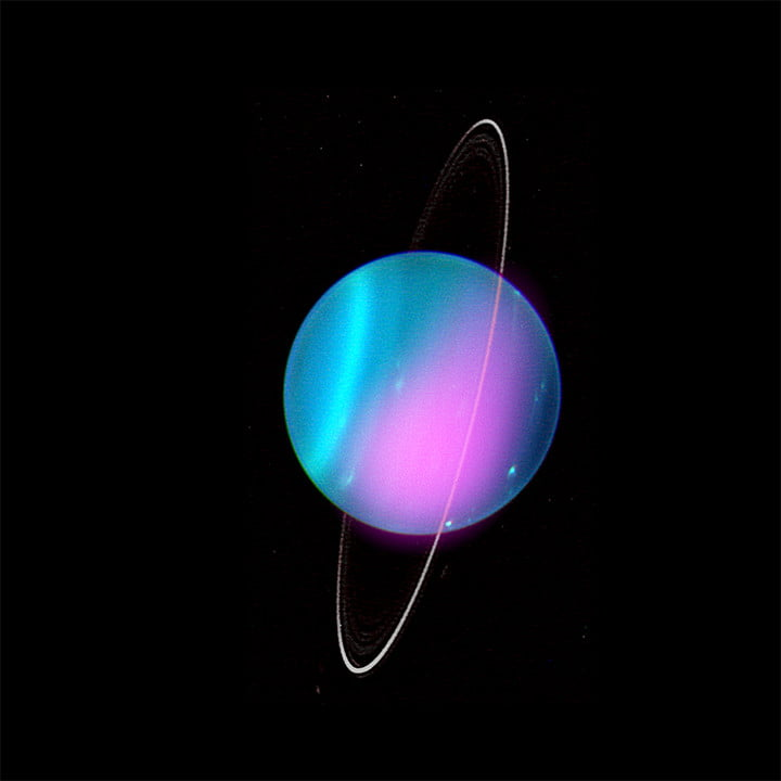 A composite image of Uranus, combining data from the optical and X-ray wavelengths.