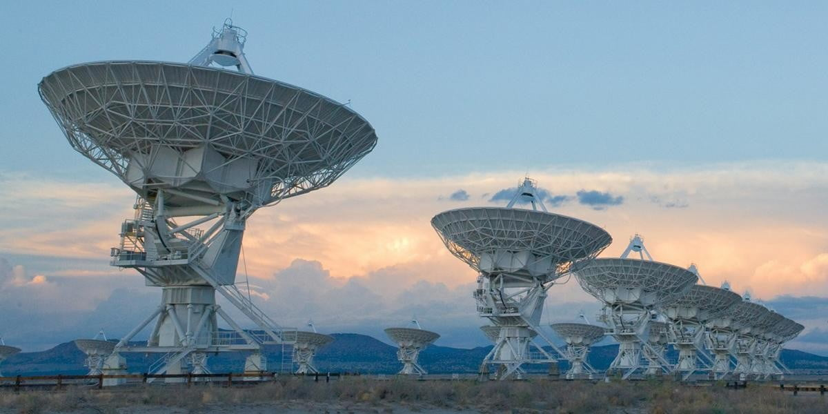 The Very Large Array (VLA) is a collection of 27 radio antennas located at the NRAO site in Socorro, New Mexico. Each antenna in the array measures 25 meters (82 feet) in diameter and weighs about 230 tons.