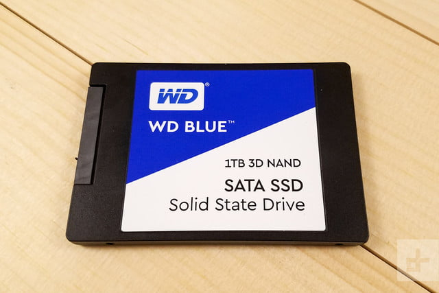 WD Blue 3D NAND SATA SSD sitting flat on a table