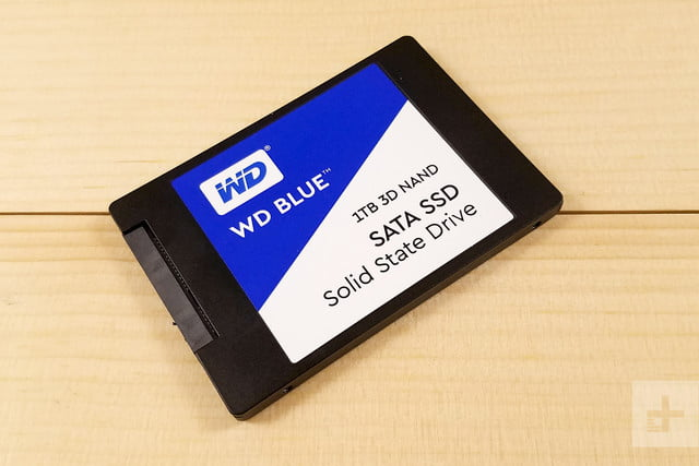 Western Digital Blue 3D NAND SATA SSD sitting flat on a table angled at 45 degrees