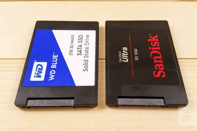WD Blue 3D NAND SATA SSD and SanDisk Ultra 3D SSD sitting side-by-side aligned vertically