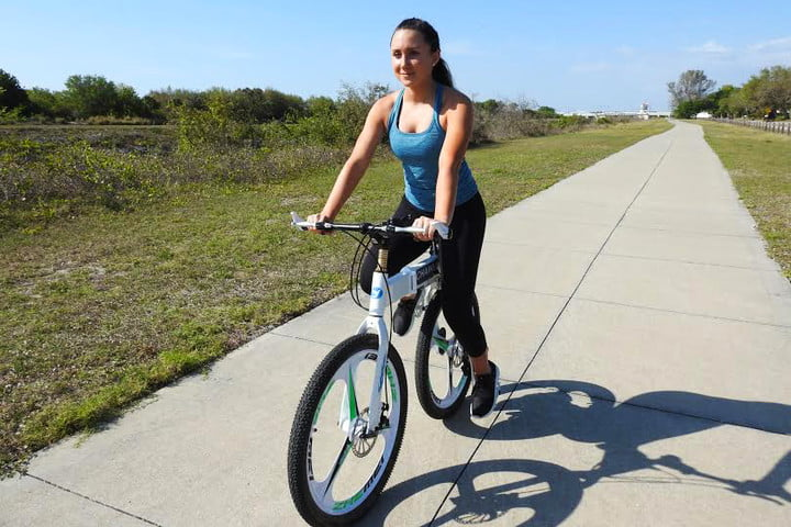 chainless bicycle without chains woman riding bike