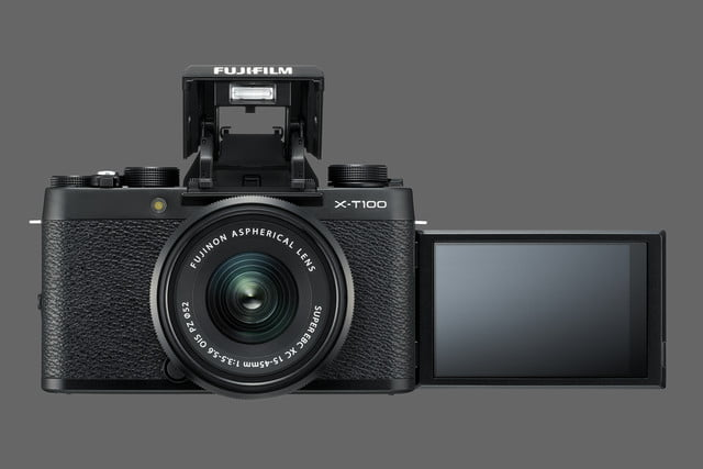 fujifilm x t100 announced black front flashup monitorup xc15 45mmb
