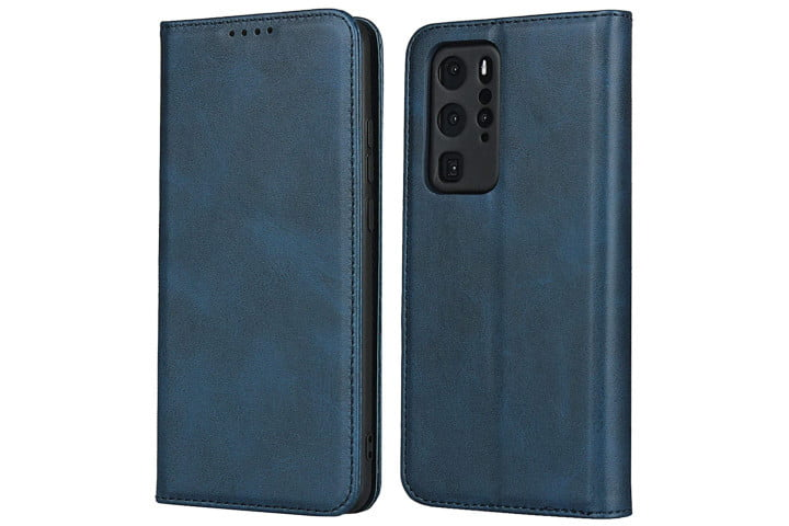 Zouzt Vegan Leather Wallet Case for Huawei P40 Pro in navy blue