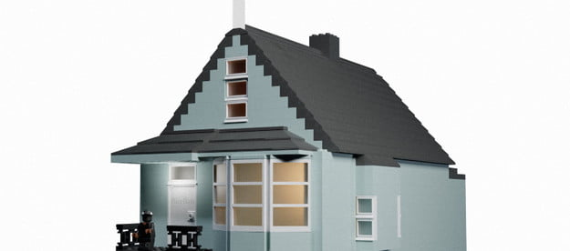 Canadian graphic artist Patrikas Samulevicius' Donda LEGO house, complete with 'Ye on the porch steps.