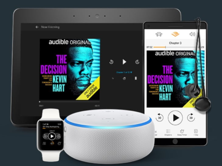 Audible home screen shown on tablet, phone, smartwatch, with Alexa in the foreground, on a black background.
