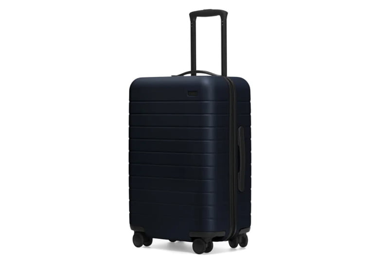 Black suitcase on a white background.