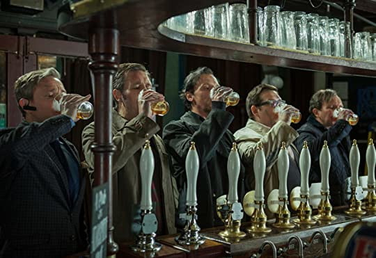 The World's End (2013) movie poster of main cast drinking beer at bar.