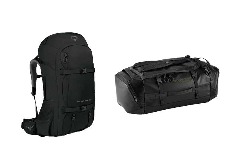 Black travel bags on a white background.