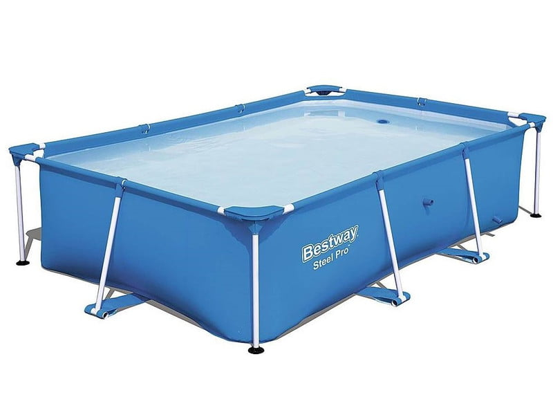 Bestway Above Ground Pool Frame all set up on white background.