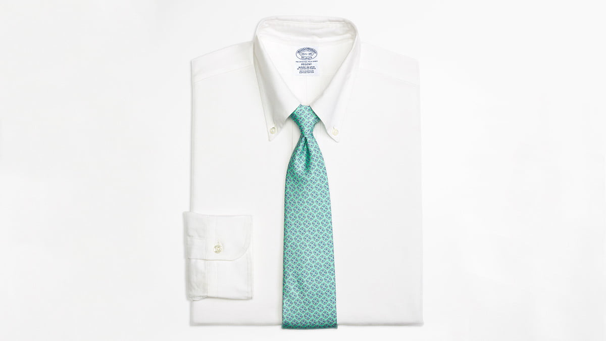 brooks brothers supima collection regent fit original polo  button down oxford dress shirt white
