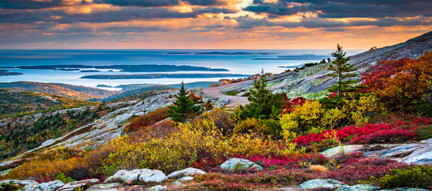 A spectacular view of Cadillac Mountain in Acadia National Park in fall.