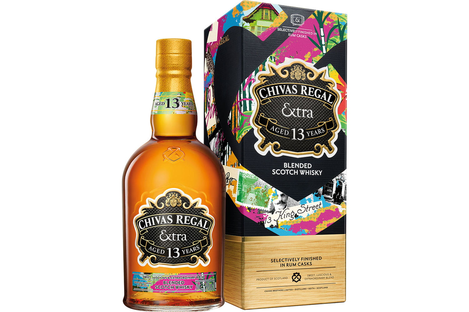 chivas extra 13 collection rum packshot bottle and box 70cl