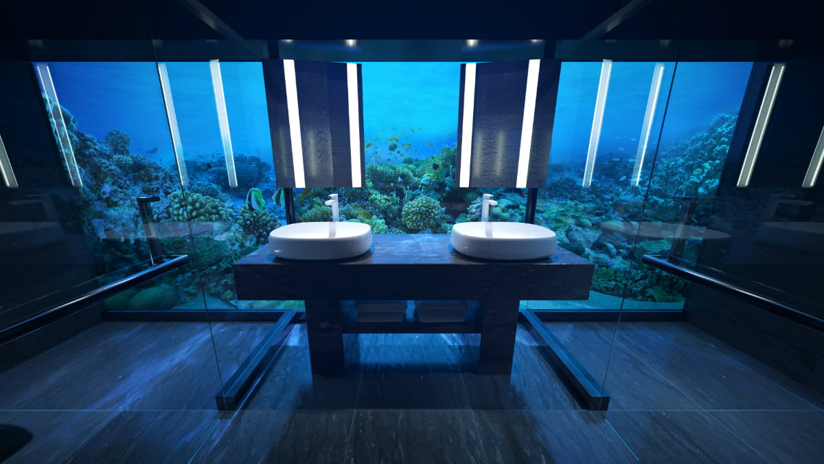 sleep with the fishes at worlds first two story underwater hotel suite conrad rangali undersea guest bathroom 2 hr