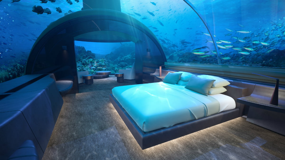 sleep with the fishes at worlds first two story underwater hotel suite conrad rangali undersea king guest 2 hr
