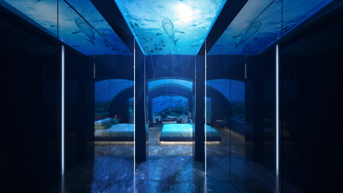 sleep with the fishes at worlds first two story underwater hotel suite conrad rangali undersea king guest 3 hr