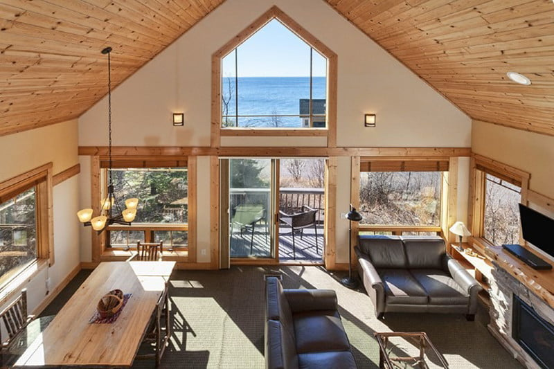 best midwest camp style lodges hotel where you can unplug cove point lodge interior living area