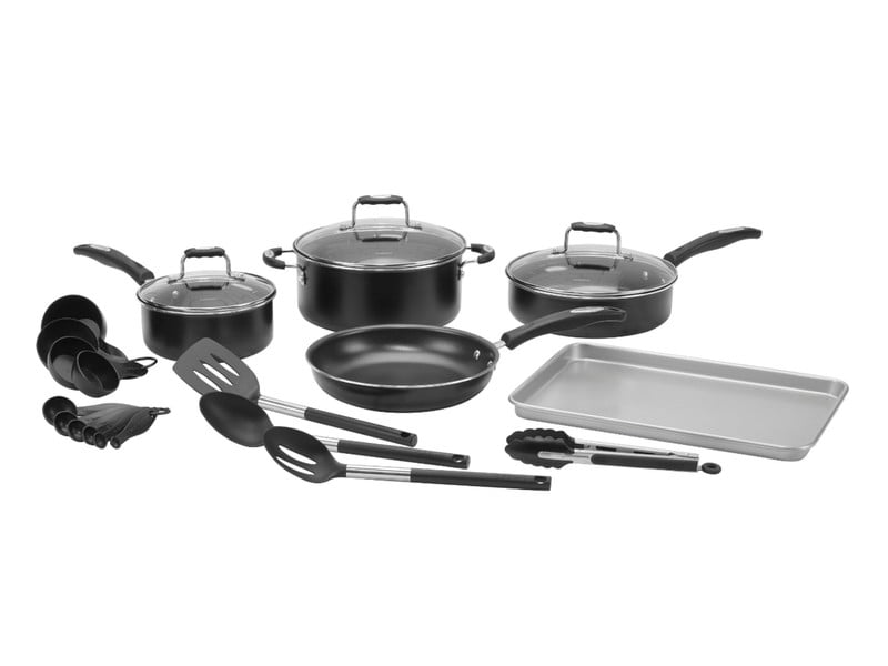 Cuisinart 22-piece cookware set displayed on white background.
