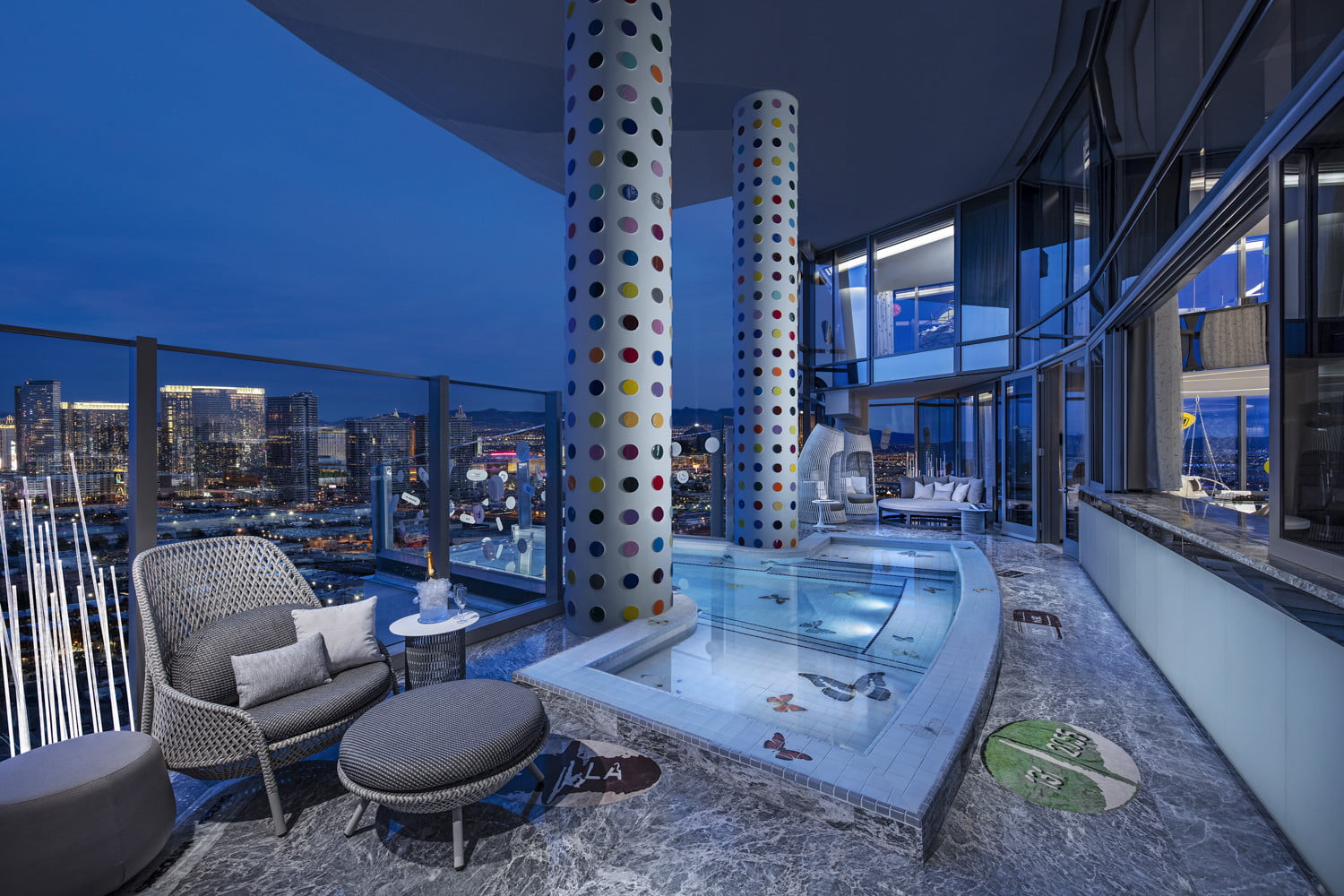 this 100000 a night vegas hotel suite is the worlds most expensive empathy designed by damien hirst balcony  pool