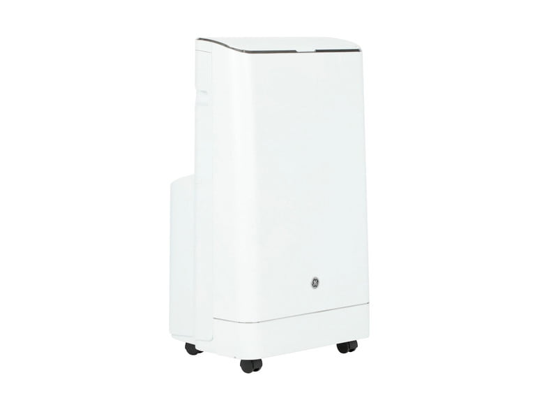 Side view of GE's Portable AC Unit on white background.