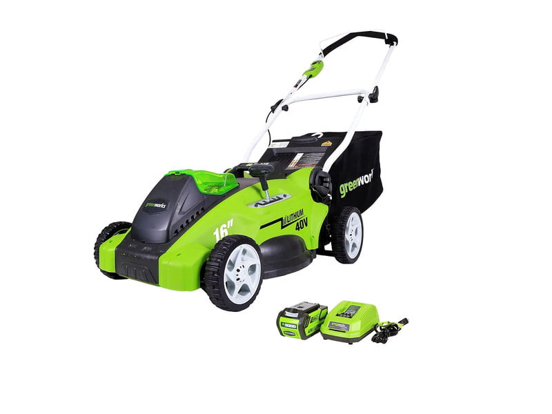 Greenworks 40V Push Start Electric Lawn Mower with Accessories on white background.