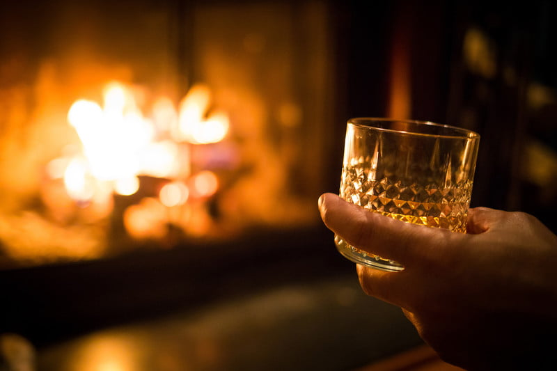 sipping whiskey fire