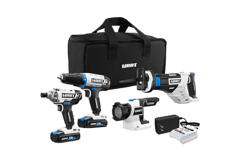 The Hart 20V Cordless 4-Tool Combo Set with a black storage bag.