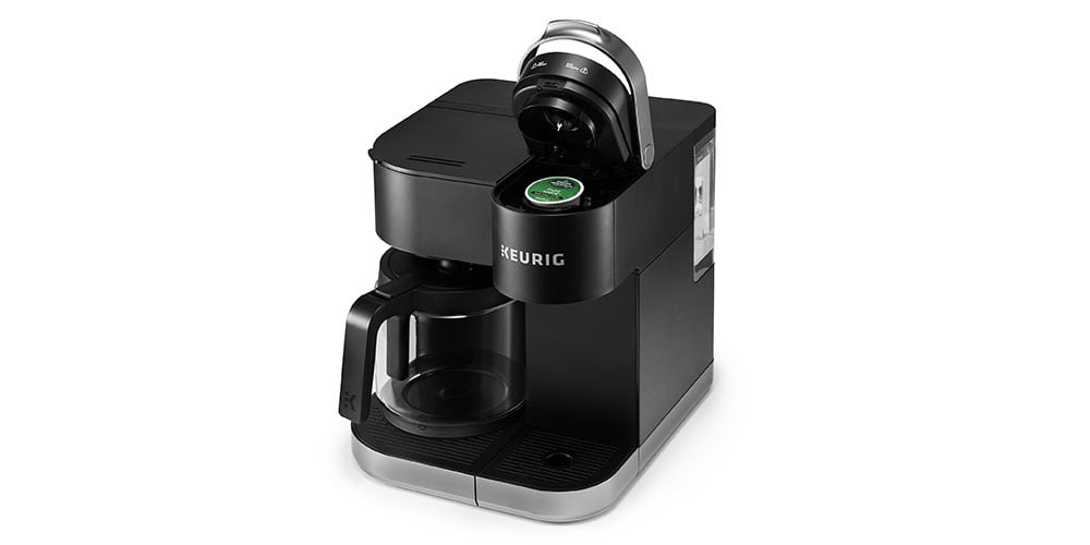Keurig K-Duo Single Serve K-Cup Pod & Carafe Coffee Maker on a white background.