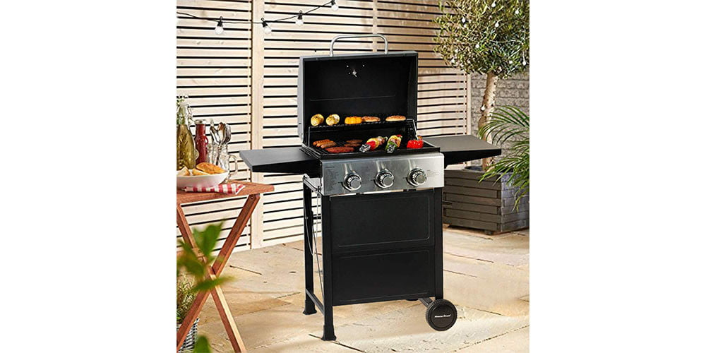 Master Cook 3 Burner BBQ Propane Gas Grill placed in a yard.