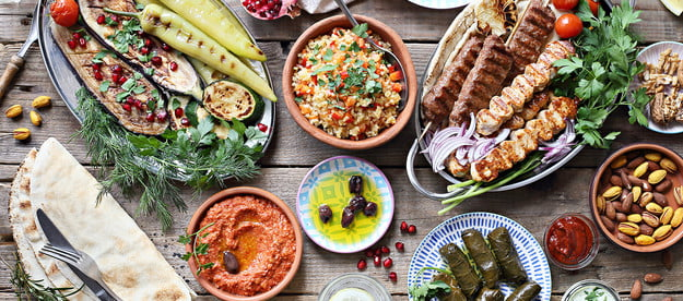 lebanese cuisine guide middle eastern  arabic or mediterranean dinner table with grilled lamb kebab chicken skewers roasted v