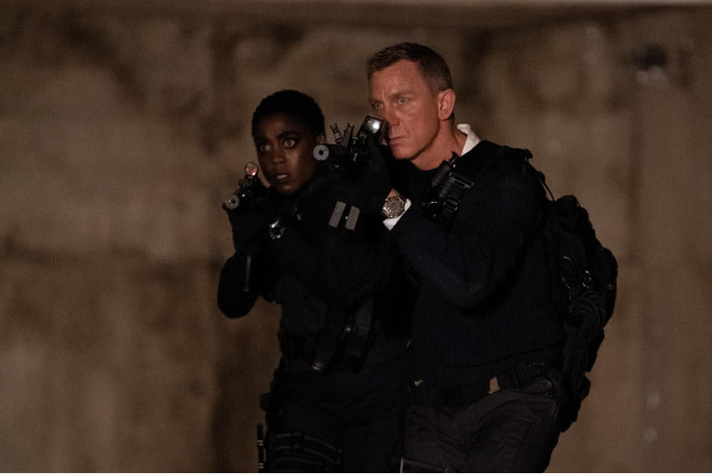 Lashana Lynch (left) as the first female 007, backing up James Bond (Daniel Craig, right) after he's pulled from retirement.