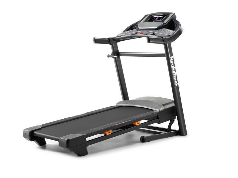 NordicTrack C700 Folding Treadmill with 7-inch touchscreen display on white background.