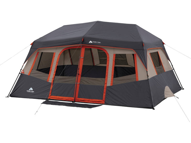 Ozark Trail 10-Person Instant Camping Tent set up on white background.