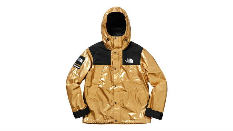 the north face supreme mountain parka gold