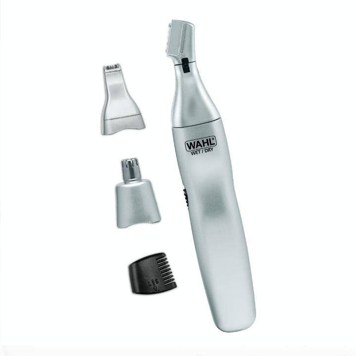 A Wahl's Ear, Nose, and Brow 3-in-1 Personal Trimmer handle with three interchangeable tips.