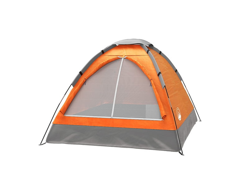Wakeman 2 person dome tent in orange set up on white background.