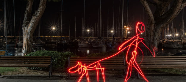 red light effect person walking dog